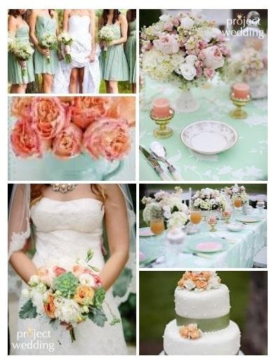Mint Green And Peach Wedding
