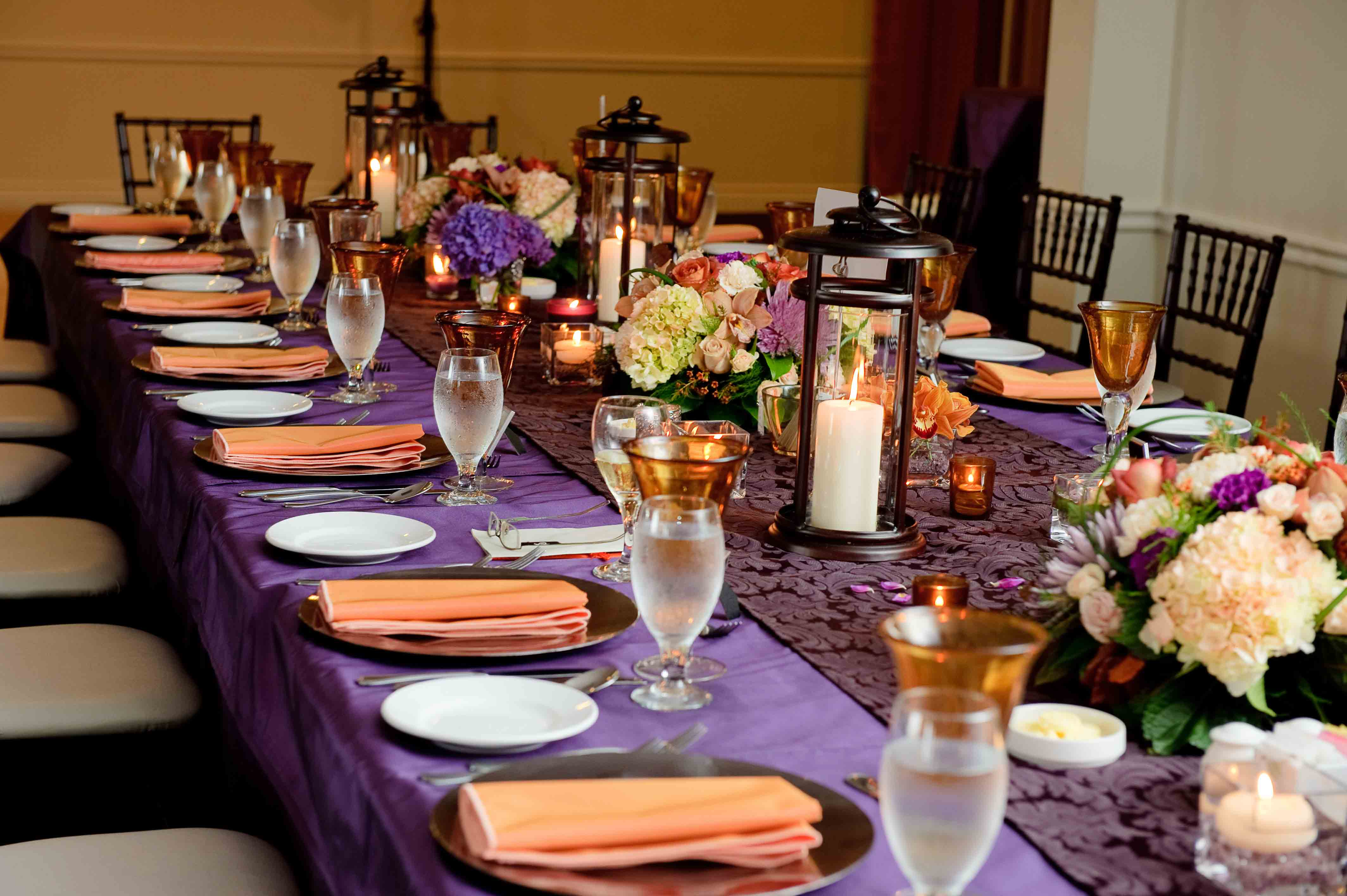 purple and orange wedding table linens