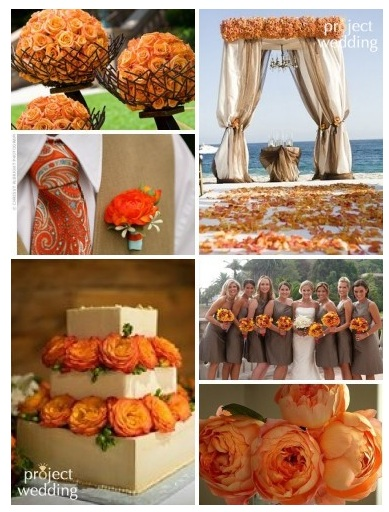 Orange and Tan Wedding