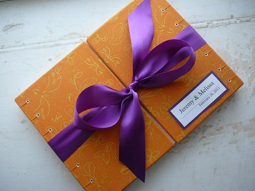 purple and orange wedding invitations