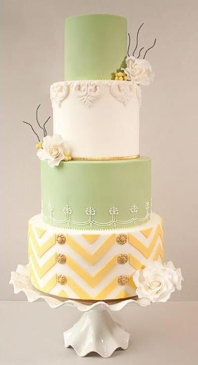 sage and yellow wedding cake