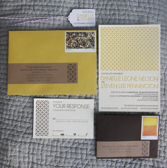 yellow and brown wedding invitations