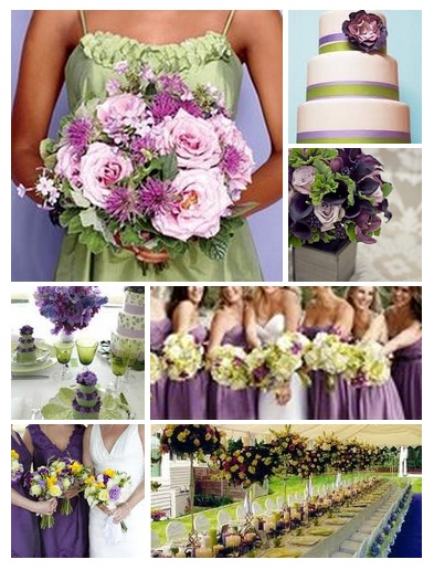green and purple wedding