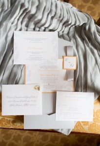 orange and gray wedding invtiations