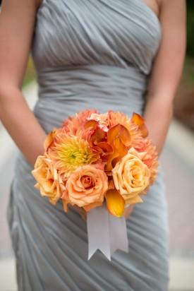 orange and gray bridesmaid