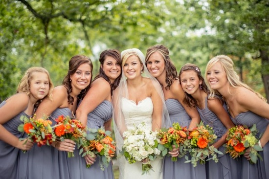 orange and bridal party