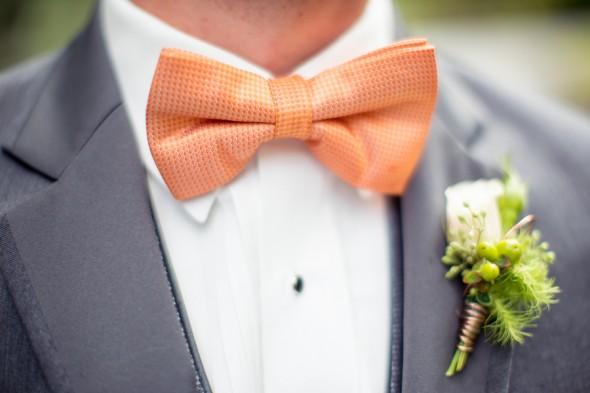 orange and gray wedding groom