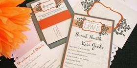 Orange and Gray wedding invitations