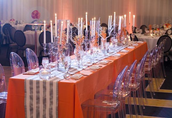 Orange and Gray wedding reception