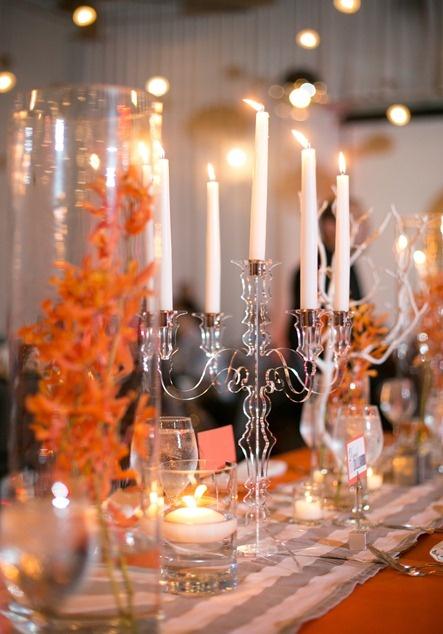 orange and gray wedding centerpiece