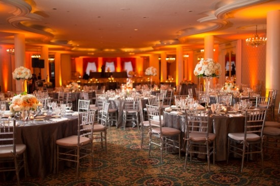 orange and gray wedding decor