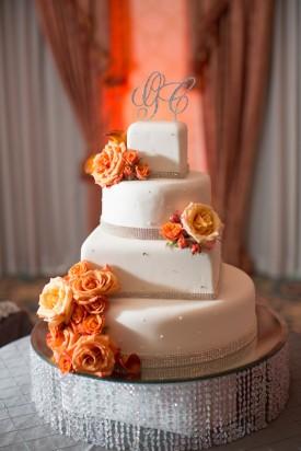orange and gray wedding cake