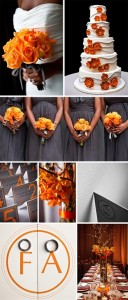 orange and gray wedding