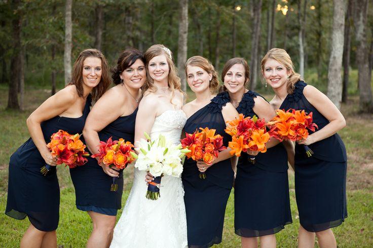 navy blue and orange wedding party