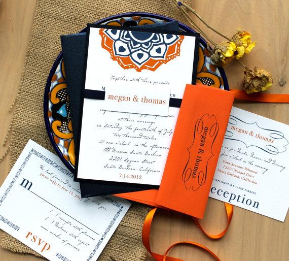 orange and navy blue wedding invitations