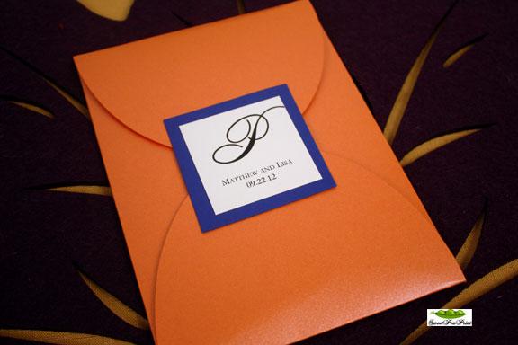 orange and navy wedding invtiation